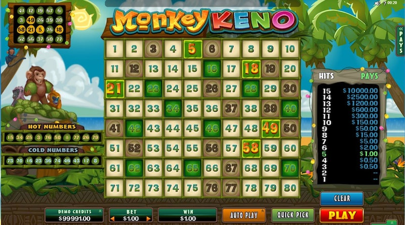 Play Monkey Keno by Microgaming