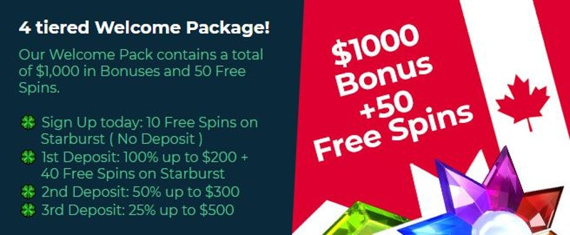 MyChance Casino bonus is $1000 + 50 free spins