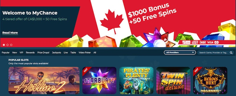 MyChance Casino offers more than a 1000 games