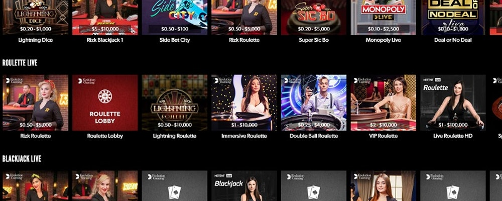 Rizk Club Boasts Exclusive Live Casino Tables